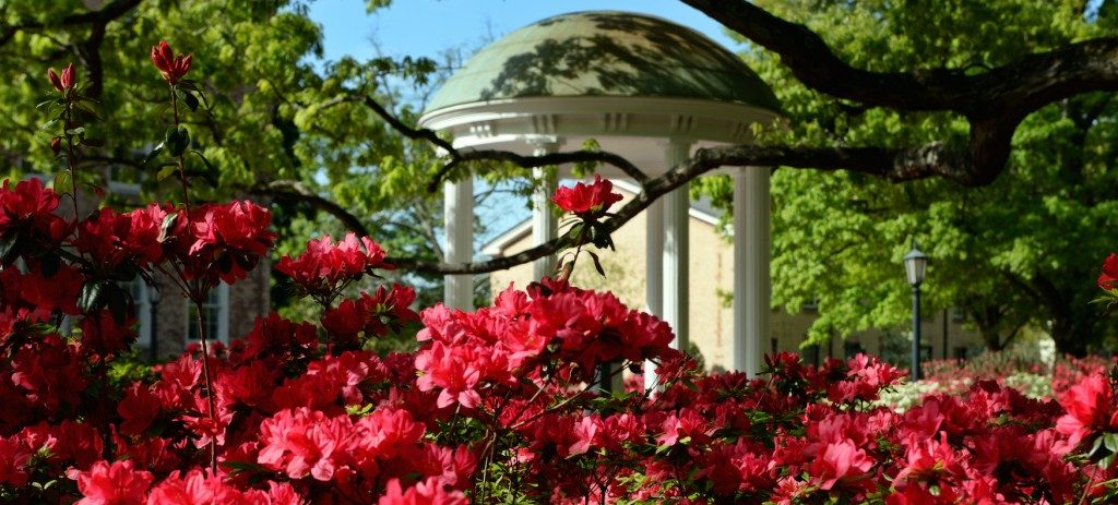 UNC Old Well and flowers