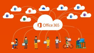 Office 365 graphic that includes icons for each of the services available.