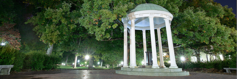 UNC Old Well at night