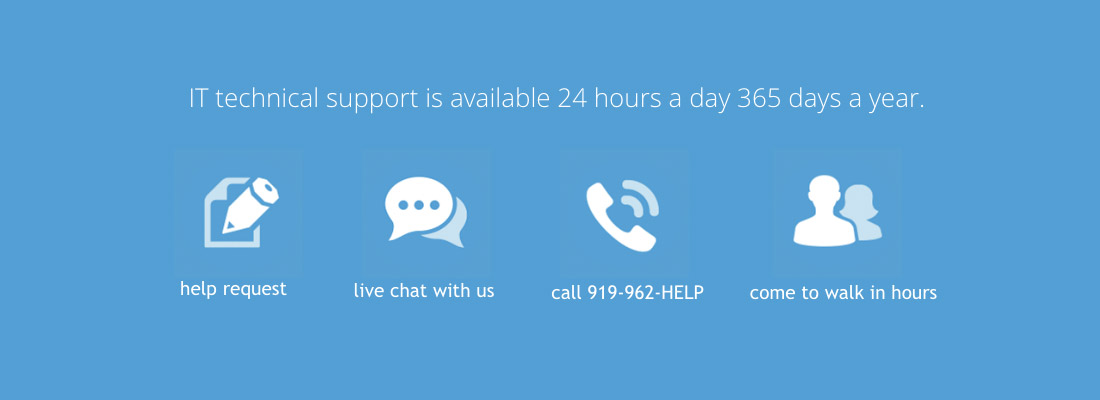 IT technical support is available 24 hours a day, 365 days a year. Submit help requests, chat and call. Learn more at help.unc.edu.