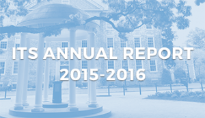 ITS Annual Report 2015-2016 text on top of blue landscape of Old Well