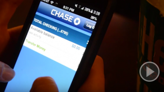 Cell phone showing bank account information, promoting PSA contest hosted by ITS.