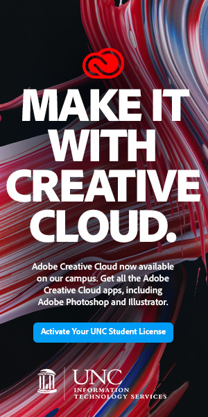 Adobe Creative Cloud is free for all students. Learn more by clicking this image.