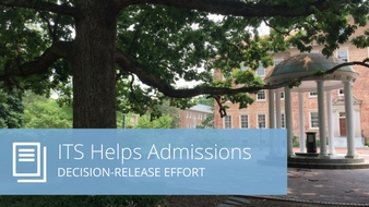 "Words ""ITS helps admissions: decision-release effort"" on top of Old Well photo"
