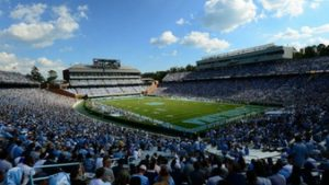 Wide angle of Kenan Stadium during a football game