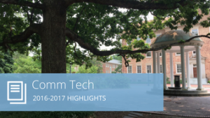 "Words ""Comm Tech 2016-2017 highlights"" with image of the Old Well"