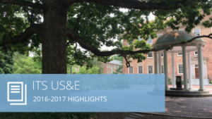 Words ITS US&E 2016-2017 highlights and an image of the Old Well