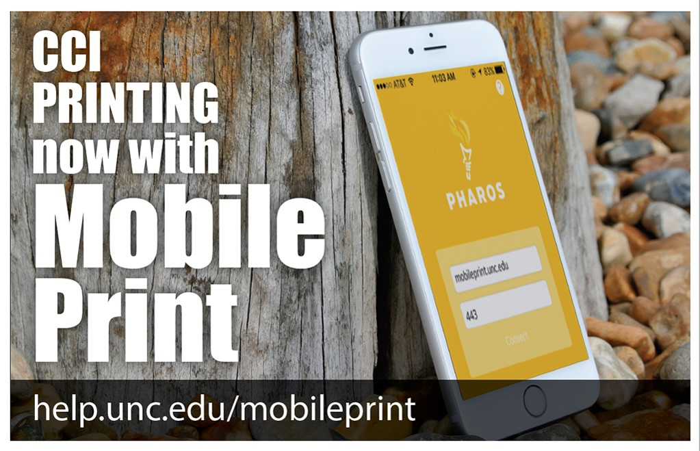 CCI Printing Now with Mobile Print poster with those words and a mobile phone image