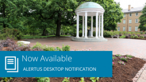 "Words ""Now available: Alertus Desktop Notification"" with image of Old Well"