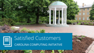 "Words ""Satisfied Customers: Carolina Computing Initiative"" overlaying Old Well image"