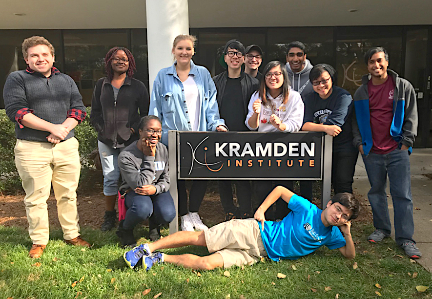 ResNet staff pose at Kramden sign