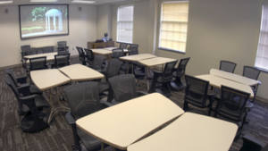 The front of renovated Dey 205 with easily movable desks and chairs.