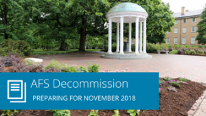 "Words ""AFS Decommission: Preparing for November 2018"" with Old Well photo"