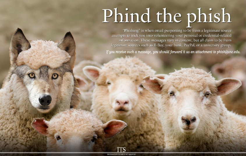 Phind the phish sheep and wolf poster