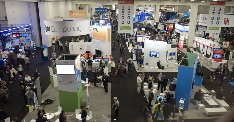 Exhibit floor at SC18 supercomputing conference