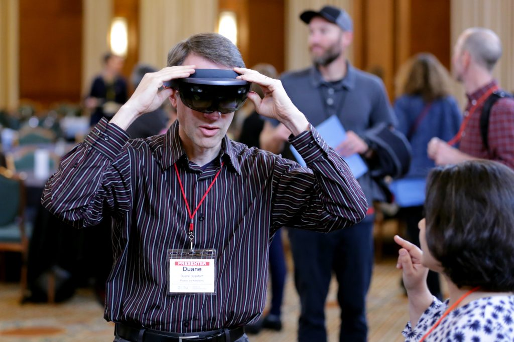 Faculty member Duane Deardorff, Physics and Astronomy, tries out virtual reality