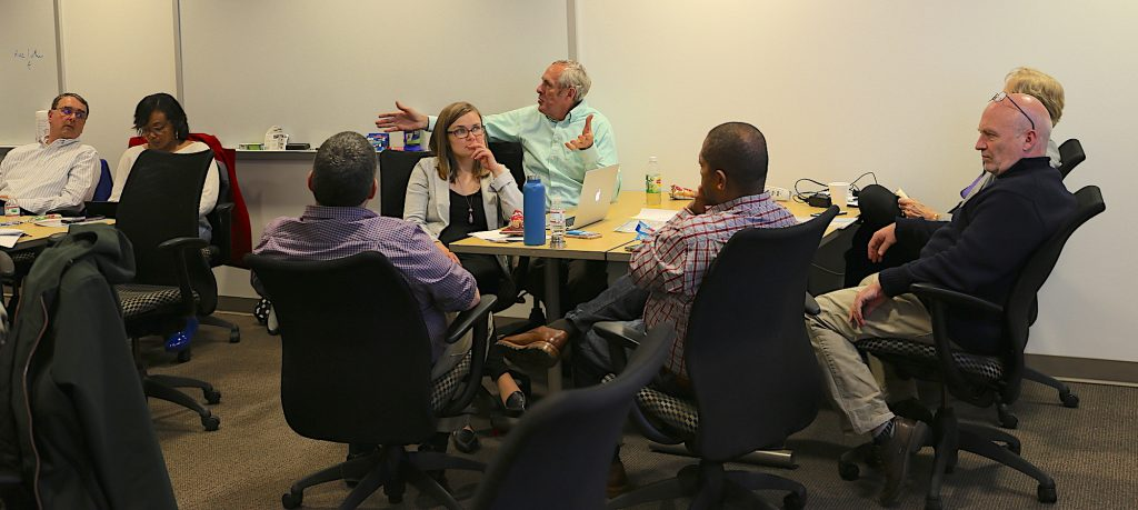 AVC Dennis Schmidt talks to the training participants