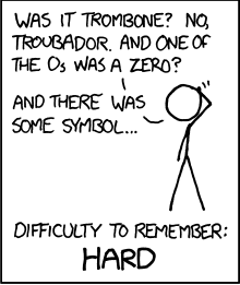 "Comic xkcd on password strength. Stick figure scratching head asks, ""Was it trombone? No, troubador. And one of the Os was a zero? And there was some symbol..."" Difficulty to remember: Hard"