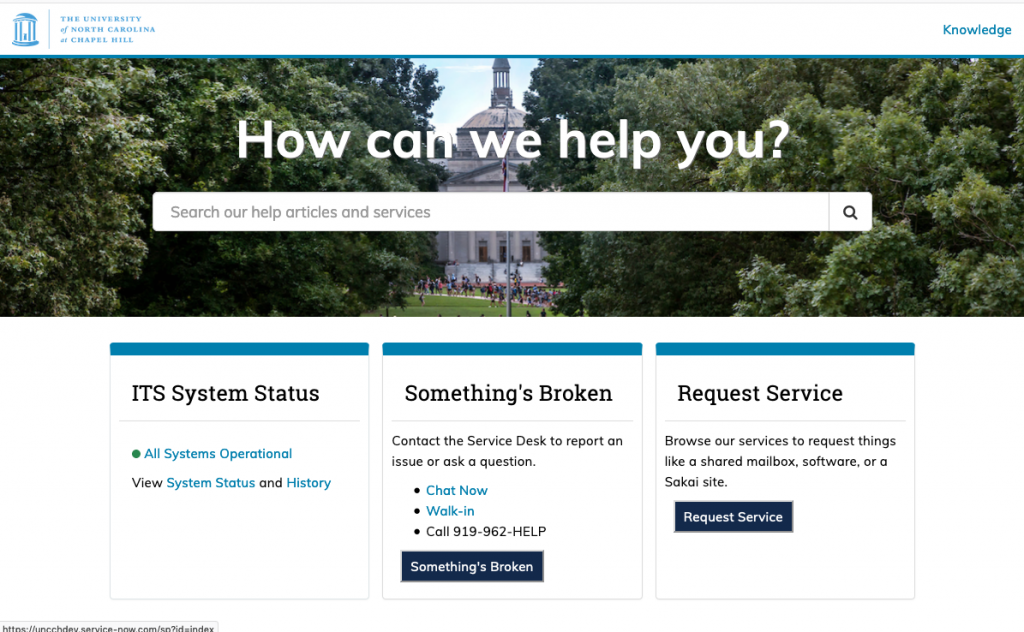 screenshot of ServiceNow support portal