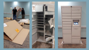 Two men install lockers, lockers with 15 compartments open, lockers with 15 compartments closed and touchpad ready for use