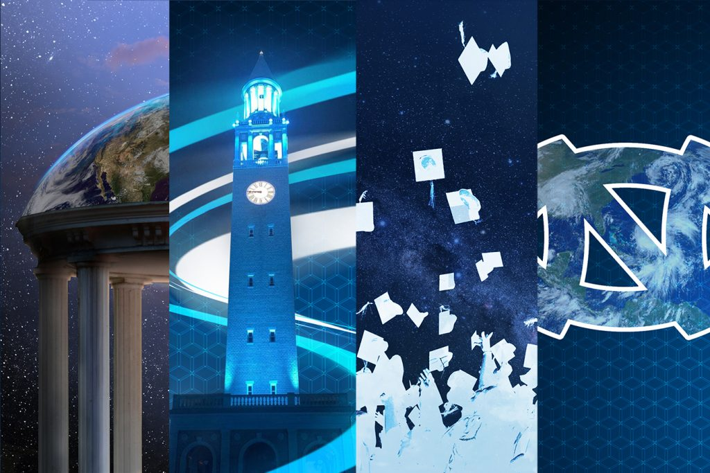 Four UNC background designs that Charlie Wilcher created: Old Well, Bell Tower, graduates throwing caps into air, interlocking N and C