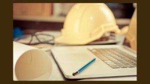 laptop and hard hat