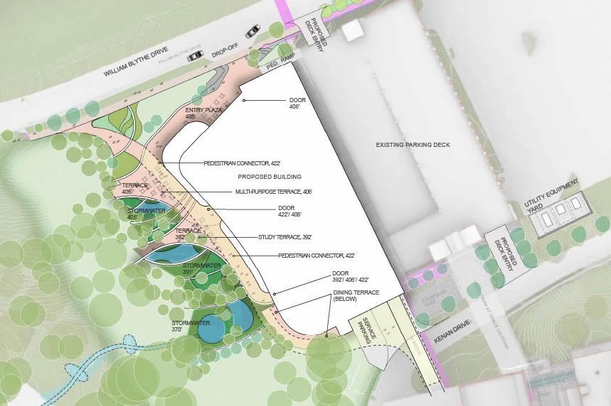 Site plan showing building adjacent to existing parking garage