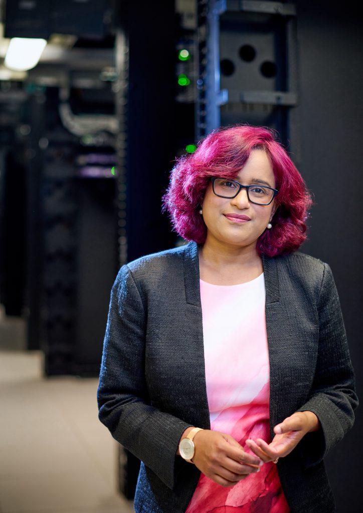 Prashanti Manda stands inside the data center at ITS Manning in Chapel Hill