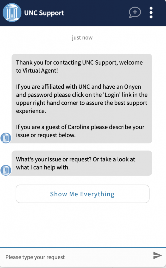 Screenshot of UNC Support Virtual Agent chat window