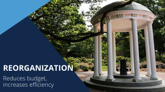 Reorganization: Reduces budget, increases efficiency